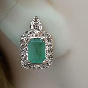Vintage 2.80ctw Colombian Emerald & H-SI Diamond 14K Rose Gold 925 Earrings