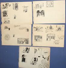 Lot 5 Vintage ink paintings fairy comics illustrations designs