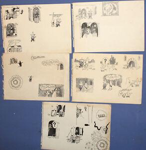 Lot 5 Vintage ink paintings fairy comics illustrations designs