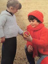 Knitting Pattern Children Girl Boy Jacket Hat Scarf 9-12 Mths 2 & 4 Yrs Vintage