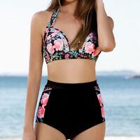 Ladies Halter Bandage Bikini Set Push Up High Waisted Floral Swimsuit Swimwear
