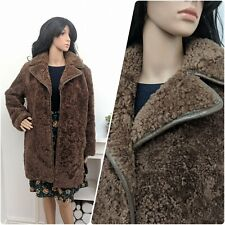Vintage 70s Brown Curly Teddy Sheepskin Shearling Coat Chic 60s Mod M 10 12 14