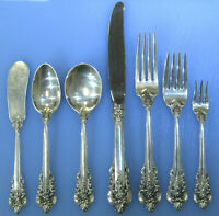 Wallace Silver Grande Baroque 7pc Sterling Silverware Service for 8 - 56pcs
