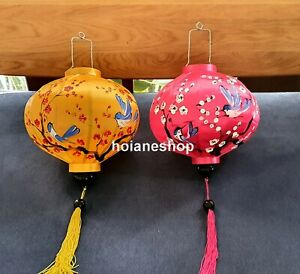 Set 2 pcs Handpainted Vietnamese silk lanterns with birds and cherry blossoms