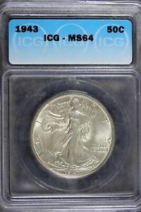 1943 - ICG MS64 Walking Liberty Half Dollar!!  #B21109