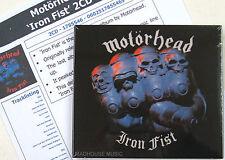 MOTORHEAD CD x 2 Iron Fist DIGI-PK UK 2015 Remastered Delux +  LIVE + Promo Sht