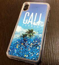 "iPhone XS Max 6.5"" -Floating Water Glitter Blue Liquid California Palm Tree Case"