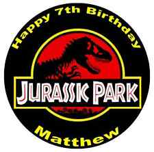 """Jurassic Park Personalised Cake Topper 7.5"""" Edible Wafer Paper"""