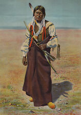 RARE Antique Chromolithograph Print - Southern Ute Indian Denver CO 1891 Latoix