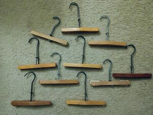 Set of 10 Vintage Wooden Pants Skirt Hangers Clamp Style