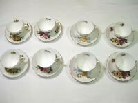 Lot of 8 Queen Anne /Bone China Tea Cup & Saucer Rose Floral Gold Trim England