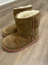 UGG Australia Chestnut Brown Pink Classic Shearling Boots Kids Size 11