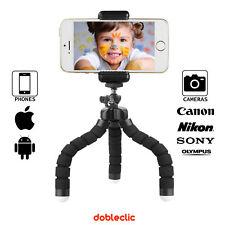 "Trípode Flexible para teléfonos móviles y cámaras fotográficas con rosca 1/4"""