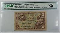 1948 Germany - Federal Republic 5 Deutsche Mark Note Pick# 4a PMG 25 Very Fine