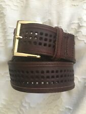 Linea Pelle Leather Belt LARGE Brown Gold Buckle Perforated square