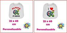 bavaglino gigante stampa I love Alfa romeo / Alfista si nasce cotone idea regalo