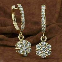 2.00 Ct Round Cut Diamond Drop/Dangle Earrings 14K Yellow Gold Over For Women's