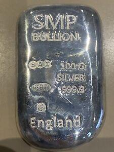 10 X Smp Bullion 100g silver bar. 999 fine silver. Sheffield Hallmark Lot 2