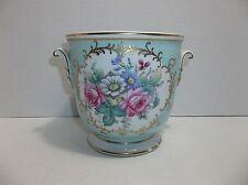 Vintage Porcelain Vase JARDINIERE Tiffany Blue PINK Roses GOLD Gilt