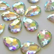 30pcs Crystal AB Tear Drop 13x18mm Acrylic Flatback Strass Rhinestones Sew-on