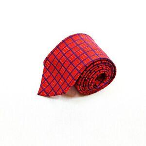 """Turnbull & Asser Mens 100% Silk Textured Geometric Tie Necktie Red 3.75"""""""