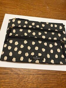Kate Spade Makeup Bag Black, Tan and White Cotton