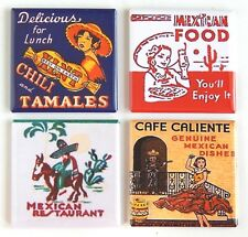 Mexican Food FRIDGE MAGNET Set (2 x 2 inches each) hot tamale chili mexico