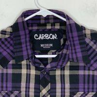 Carbon Mens Casual Shirt LS Purple Black Pearl Snap Pockets Plaid Medium
