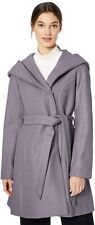 Jessica Simpson Women's Wrap Coat Hooded Winter Jacket Belted, Grey, Large