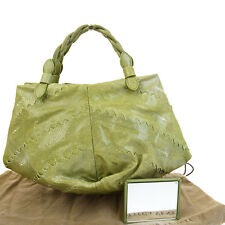 ULTRA RARE!! Auth BOTTEGA VENETA Hand Bag Galuchat Leather Green Mirror 30V393