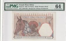1942 French West Africa 25 Francs P-27  PMG 64 Choice UNC