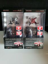 Lot of 2 Propel Atom Micro Drone Wireless Indoor/Outdoor Quadrocopter Red/Silver