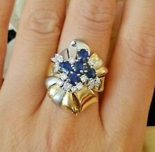 Sapphire & Diamond Cluster Ring in Platinum and 18K Yellow Gold - HM1578
