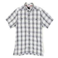 The North Face Button Down Shirt M Men's Regular Gray Plaid Nylon Short Sleeve