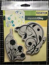 New Penny Black Rubber Stamp LONGING flower flourishes set cling free USA ship