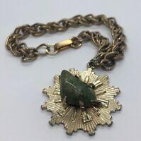 """Vintage Bracelet 8"""" Jade Gold Tone Charm Star"""