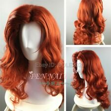 Fashion Copper Red Curly Jessica Cosplay Medium Wig Synthetic Party Hair Wigs