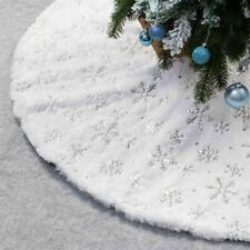 Luxury Gold Faux Fur Christmas Tree Skirt Festive Home Xmas Snowflake Decor
