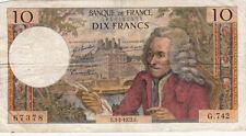 Billet banque 10 Frs VOLTAIRE 03-02-1972 E G.742 état voir scan