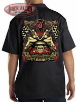 LUCKY 7 Hot Rod w/ Girls Dickies Mechanics Work Shirt ~ Pinup Babes Skull Bones