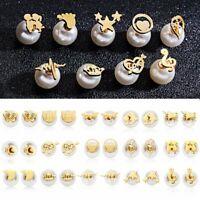 Animal Pearl Stylish Earrings Ear Stud Women Cat Wedding Stainless Steel Jewelry
