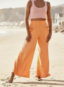 Free People Movement Pant Wide Leg Ribbed Pull On Blissed Out Orange S, L NEW