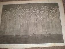 Naval Festival Portsmouth allied fleet rockets and illumination 1865 print ref C