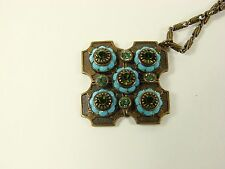 LIZ PALACIOS TAGGED CHAIN WITH BLUE AND GREEN STONE 4 SIDED PENDANT