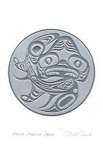 Haida Dogfish Drum Bill Reid Silver Embossed Art Card Northwest Coast Native