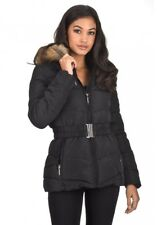 AX Paris Womens Quilted Padded Puffer Jacket Faux Fur Hooded Coat Zip Up & Belt