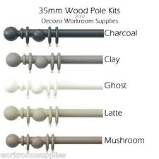 35mm Shore Wood Curtain Pole Kit Finials & Rings - 5 Modern Colours 6 Lengths 120cm Charcoal