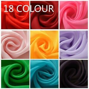 18 Colour Chiffon Fabric DIY Material Bridal Dress Craft Sheer Plain Solid Soft
