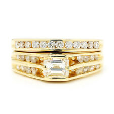 Emerald Cut Diamond Engagement Ring Set with Accents 14K Yellow Gold 1.15ctw