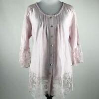 Soft Surroundings Women Light Pink Button Front 3/4 Sleeve lace Trim Top sz PXS